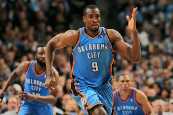 DENVER, CO - APRIL 23:  Serge Ibaka #9 of the Oklahoma City Thunder heads up court agaisnt the Denver Nuggets in Game Three of the Western Conference Quarterfinals in the 2011 NBA Playoffs on April 23, 2011 at the Pepsi Center in Denver, Colorado. NOTE TO