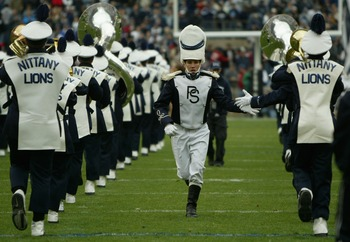 STATE COLLEGE, PA - OCTOBER 23:  Drummajor Kevin Rudy and the Penn State Blue Band perform prior to the game as the Iowa Hawkeyes defeated Penn State Nittnay Lions 6-4 during NCAA football at Beaver Stadium on October 23, 2004 in State College, Pennsylvan