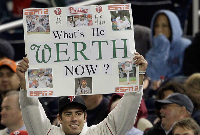 WASHINGTON, DC - APRIL 13: A Philadelphia Phillies fan holds up a sign as Jayson Werth #28 of the Washington Nationals bats during the ninth inning at Nationals Park on April 13, 2011 in Washington, DC.  (Photo by Rob Carr/Getty Images)