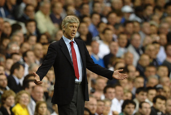 LONDON, ENGLAND - APRIL 20:  Manager Arsene Wenger of Arsenal gestures uring the Barclays Premier League match between Tottenham Hotspur and Arsenal at White Hart Lane on April 20, 2011 in London, England.  (Photo by Laurence Griffiths/Getty Images)