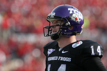 PASADENA, CA - JANUARY 01:  Quarterback Andy Dalton #14 of the TCU Horned Frogs looks on against the Wisconsin Badgers during the 97th Rose Bowl game on January 1, 2011 in Pasadena, California.  (Photo by Stephen Dunn/Getty Images)