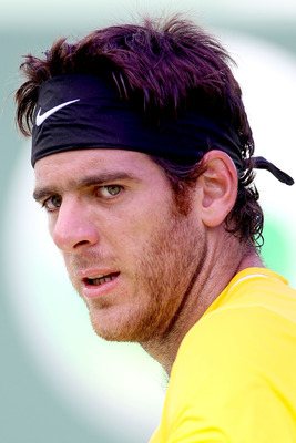 KEY BISCAYNE, FL - MARCH 29:  Juan Martin Del Potro of Argentina looks on against Mardy Fish during the Sony Ericsson Open at Crandon Park Tennis Center on March 29, 2011 in Key Biscayne, Florida.  (Photo by Matthew Stockman/Getty Images)