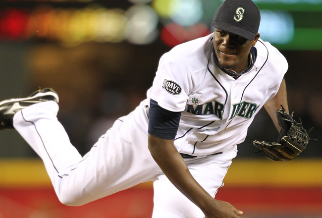 SEATTLE, WA - APRIL 12:  Starting pitcher Michael Pineda #36 of the Seattle Mariners follows through on a pitch against the Toronto Blue Jays at Safeco Field on April 12, 2011 in Seattle, Washington. (Photo by Otto Greule Jr/Getty Images)