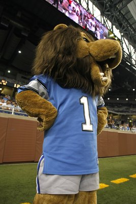 DETROIT, MI - AUGUST 9:  The Detroit Lions mascot is on the sidelines during the game between the  Cincinnati Bengals against the Detroit Lions at Ford Field on August 9, 2007 in Detroit, Michigan. The Lions defeated the Bengals 27-26.  (Photo by Scott Bo