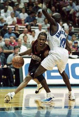 10 Nov 1999:  Allen Iverson #3 of the Philadelphia 76ers moves with the ball as Darrell Armstrong #10 of the Orlando Magic tries to block him during the game at the Orlando Arena in Orlando, Florida. The Magic defeated the 76ers 110-105.   Mandatory Credi