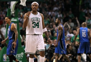 BOSTON - MAY 28:  Paul Pierce #34 of the Boston Celtics reacts against the Orlando Magic in Game Six of the Eastern Conference Finals during the 2010 NBA Playoffs at TD Garden on May 28, 2010 in Boston, Massachusetts.  NOTE TO USER: User expressly acknowl