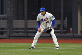 NEW YORK, NY - APRIL 08:  Carlos Beltran #15 of the New York Mets readies on defense against the Washington Nationals during the Mets' Home Opener at Citi Field on April 8, 2011 in the Flushing neighborhood of Queens in New York City.  (Photo by Al Bello/