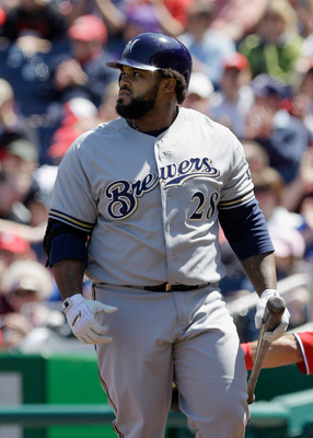 WASHINGTON, DC - APRIL 17: Prince Fielder #28 of the Milwaukee Brewers walks back to the dugout after striking out in the first inning of game one of a double header against the Washington Nationals at Nationals Park on April 17, 2011 in Washington, DC.