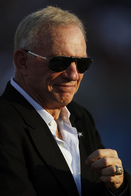CANTON, OH - AUGUST 8: Dallas Cowboys owner Jerry Jones looks on before the game against the Cincinnati Bengals during the 2010 Pro Football Hall of Fame Game at the Pro Football Hall of Fame Field at Fawcett Stadium on August 8, 2010 in Canton, Ohio. The