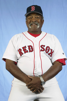SARASOTA, FL - FEBRUARY 23:  Luis Tiant of the Boston Red Sox poses for a portrait during the Red Sox spring training Media Day on February 23, 2003 at Ed Smith Stadium in Sarasota, Florida. (Photo by Craig Jones/Getty Images)