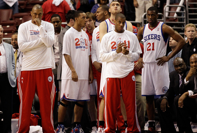 PHILADELPHIA, PA - APRIL 21: Members of the Philadelphia 76ers bench watch the closing moments of their game against the Miami Heat during game three of the Eastern Conference Quarterfinals at Wells Fargo Center on April 21, 2011 in Philadelphia, Pennsylv