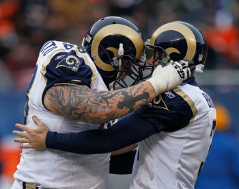 CHICAGO - DECEMBER 06: Richie Incognito #68 (L) of the St. Louis Rams congratulates kicker Josh Brown #3 after Brown hit a 50 yard field goal against the Chicago Bears at Soldier Field on December 6, 2009 in Chicago, Illinois. The Bears defeated the Rams