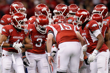 NEW ORLEANS, LA - JANUARY 04:  Ryan Mallett #15 of the Arkansas Razorbacks huddles his team against the Ohio State Buckeyes during the Allstate Sugar Bowl at the Louisiana Superdome on January 4, 2011 in New Orleans, Louisiana.  (Photo by Kevin C. Cox/Get