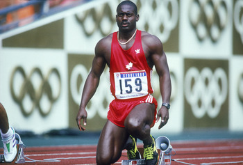 Canadian sprinter Ben Johnson at the start of the 100 Metres semi-final at Seoul Olympic Stadium during the Olympic Games in Seoul, South Korea, 24th September 1988. Johnson won the final in a world record time of 9.79 seconds, but was disqualified for do