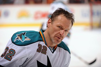 ANAHEIM, CA - APRIL 21:  Claude Lemieux #32 of the San Jose Sharks looks on against the Anaheim Ducks during Game Three of the Western Conference Quarterfinal Round of the 2009 Stanley Cup Playoffs at Honda Center on April 21, 2009 in Anaheim, California.