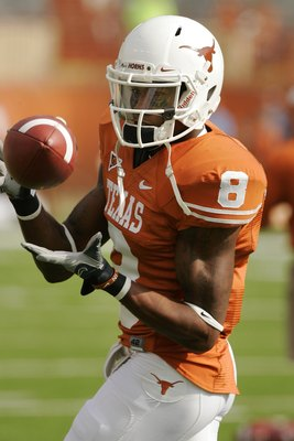 AUSTIN, TX - NOVEMBER 07:  Cornerback Chykie Brown #8 of the Texas Longhorns practices before a game against the UCF Knights on November 7, 2009 at Darrell K Royal - Texas Memorial Stadium in Austin, Texas.  Texas won 35-3.  (Photo by Brian Bahr/Getty Ima