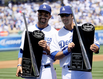 LOS ANGELES, CA - APRIL 13:  Matt Kemp #27 and Andre Ethier #16 of the Los Angeles Dodgers receive their Silver Slugger awards before the game with the Arizona Diamondbacks on April 13, 2010 at Dodger Stadium in Los Angeles, California.  The Dodgers won 9
