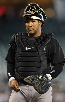 SEATTLE, WA - APRIL 13:  Catcher Jose Molina #8 of the Toronto Blue Jays looks on during the game against the Seattle Mariners at Safeco Field on April 13, 2011 in Seattle, Washington. (Photo by Otto Greule Jr/Getty Images)
