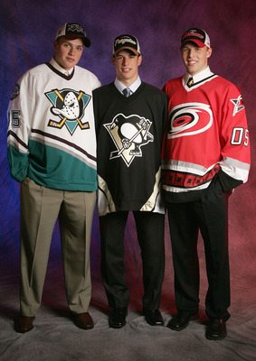 OTTAWA, ONT - JULY 30:  The top three draft picks (L-R) Bobby Ryan of the Mighty Ducks of Anaheim, Sidney Crosby of the Pittsburgh Penguins and Jack Johnson of the Carolina Hurricanes pose for a portrait during the 2005 National Hockey League Draft on Jul