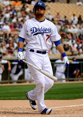 GLENDALE, AZ - MARCH 15:  James Loney #7 of the Los Angeles Dodgers plays in the spring training baseball game against the Texas Rangers at Camelback Ranch on March 15, 2011 in Glendale, Arizona.  (Photo by Kevork Djansezian/Getty Images)