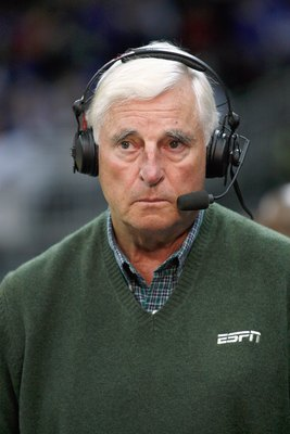 KANSAS CITY, MO - NOVEMBER 24: Bob Knight former head coach, looks on as an ESPN commentator during the CBE Classic games on November 24, 2008 at the Sprint Center in Kansas City, Missouri. (Photo by Jamie Squire/Getty Images)