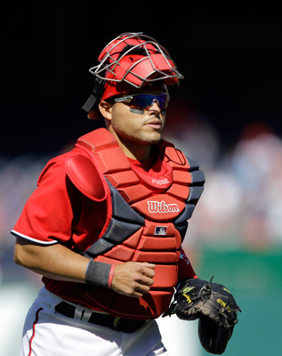 WASHINGTON, DC - APRIL 17:  Catcher Ivan Rodriguez #7 of the Washington Nationals against the Milwaukee Brewers at Nationals Park on April 17, 2011 in Washington, DC.  (Photo by Rob Carr/Getty Images)