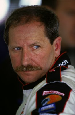 LAS VEGAS - MARCH 5:  A close up of Dale Earnhardt Sr. as he looks on during the Cardirect.com 400 on March 5, 2000 at the Las Vegas Speedway in Las Vegas, Nevada. (Photo by Robert Laberge/Getty Images)