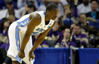 CHARLOTTE, NC - MARCH 20:  Harrison Barnes #40 of the North Carolina Tar Heels looks on in the second half while taking on the Washington Huskies during the third round of the 2011 NCAA men's basketball tournament at Time Warner Cable Arena on March 20, 2