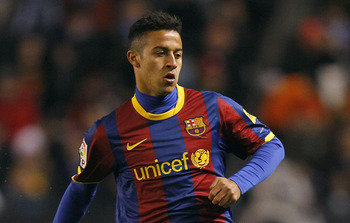 A CORUNA, SPAIN - JANUARY 08: Thiago Alcantara of Barcelona in action during the La Liga match between Deportivo La Coruna and Barcelona at Riazor Stadium on January 8, 2011 in La Coruna, Spain. (Photo by Angel Martinez/Getty Images)