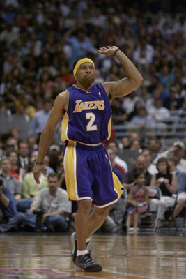 19 May 2001:  Derek Fisher #2 of the Los Angeles Lakers  in game one of the western conference finals against  the San Antonio Spurs at the Alamodome in San Antonio, Texas.  The Lakers won 104-90.  DIGITAL IMAGE.  Mandatory Credit: Jed Jacobsohn/Allsport.