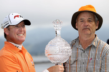 PEBBLE BEACH, CA - FEBRUARY 13:  Actor Bill Murray and D.A. Points during the trophy ceremony following the final round of the AT&T Pebble Beach National Pro-Am at the Pebble Beach Golf Links on February 13, 2011 in Pebble Beach, California.  (Photo by Ez