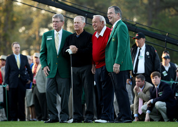 AUGUSTA, GA - APRIL 07:  (L-R) William W.Johnson, Jack Nicklaus, Arnold Palmer and William Porter Payne pose on the first tee prior to starting the first round of the 2011 Masters Tournament at Augusta National Golf Club on April 7, 2011 in Augusta, Georg
