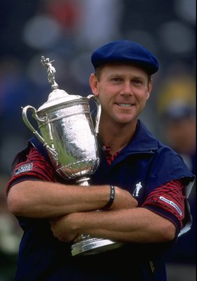 20 Jun 1999:  Payne Stewart of the United States celebrates victory with the trophy after winning the 1999 US Open Tournament played on the number two course at Pinehurst in North Carolina, USA. \ Mandatory Credit: David Cannon /Allsport