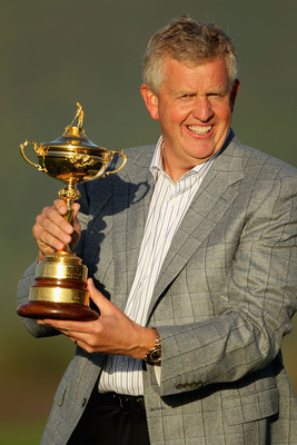 NEWPORT, WALES - OCTOBER 04:  European Team Captain Colin Montgomerie poses with the Ryder Cup following Europe's 14.5 to 13.5 victory over the USA at the 2010 Ryder Cup at the Celtic Manor Resort on October 4, 2010 in Newport, Wales.  (Photo by Andy Lyon