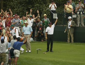 AUGUSTA, GA - APRIL 11:  Padraig Harrington of Ireland celebrates a hole-in-one on the 16th hole during the final round of the Masters at the Augusta National Golf Club on April 11, 2004 in Augusta, Georgia.  (Photo by Harry How/Getty Images)