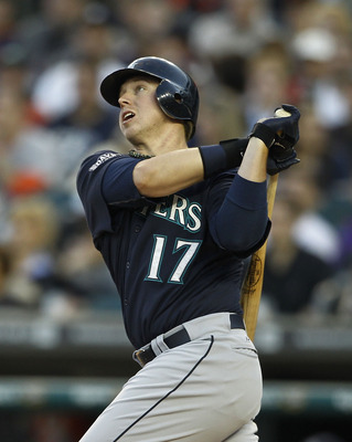 DETROIT - APRIL 26:  Justin Smoak #17 of the Seattle Mariners hits a two-run home run in the fourth inning of the game against the Detroit Tigers at Comerica Park on April 26, 2011 in Detroit, Michigan.  (Photo by Leon Halip/Getty Images)