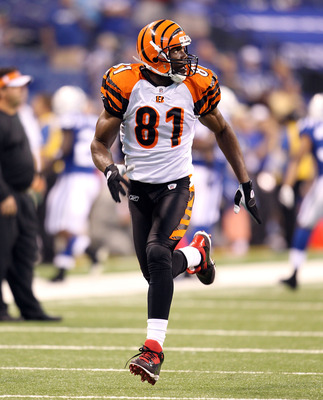 INDIANAPOLIS - SEPTEMBER 02:  Terrell Owens #81  of the Cincinnati Bengals catches a pass before the NFL preseason game against the Indianapolis Colts at Lucas Oil Stadium on September 2, 2010 in Indianapolis, Indiana.  (Photo by Andy Lyons/Getty Images)