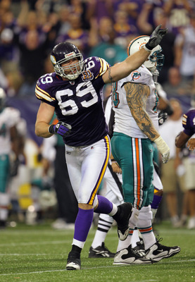 MINNEAPOLIS - SEPTEMBER 19:  Jared Allen #69 of the Minnesota Vikings in action during the game against  of the Miami Dolphins on September 19, 2010 at Hubert H. Humphrey Metrodome in Minneapolis, Minnesota.  (Photo by Jamie Squire/Getty Images)