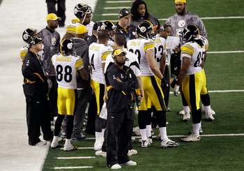 ARLINGTON, TX - FEBRUARY 06:  Head coach Mike Tomlin of the Pittsburgh Steelers looks on during Super Bowl XLV at Cowboys Stadium on February 6, 2011 in Arlington, Texas.  (Photo by Rob Carr/Getty Images)