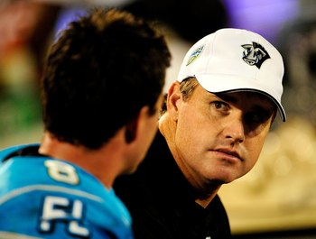 ORLANDO, FL - OCTOBER 22:  Offensive coordinator Jay Gruden of the Florida Tuskers talks with Brooks Bollinger #8 during the game against the California Redwoods at the Florida Citrus Bowl on October 22, 2009 in Orlando, Florida.  (Photo by Sam Greenwood/