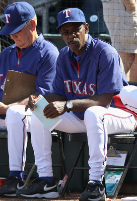 SURPRISE, AZ - MARCH 11:  Manager Ron Washington of the Texas Rangers during the spring training game against the Cincinnati Reds at Surprise Stadium on March 11, 2011 in Surprise, Arizona.  (Photo by Christian Petersen/Getty Images)
