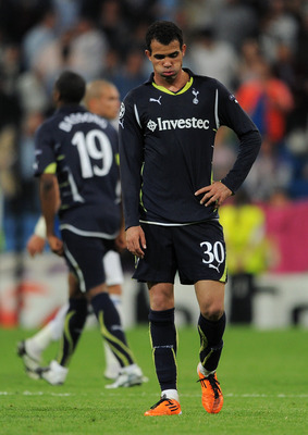 MADRID, SPAIN - APRIL 05:  Sandro of Tottenham Hotspur trudges off the pitch at the end of the UEFA Champions League quarter final first leg match between Real Madrid and Tottenham Hotspur at Estadio Santiago Bernabeu on April 5, 2011 in Madrid, Spain.  (
