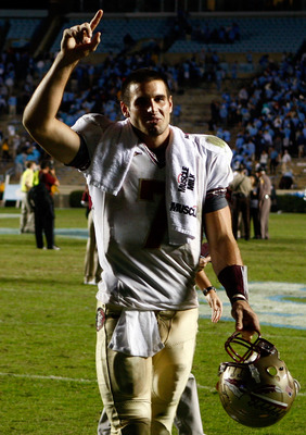 CHAPEL HILL, NC - OCTOBER 22:  Christian Ponder #7 of the Florida State Seminoles celebrates after the Seminoles defeated the North Carolina Tar Heels 30-27 at Kenan Stadium on October 22, 2009 in Chapel Hill, North Carolina.  (Photo by Scott Halleran/Get