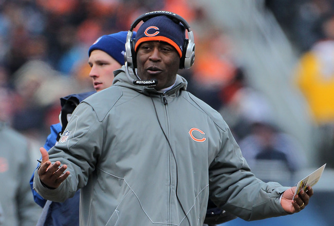 CHICAGO, IL - JANUARY 16:  Head coach Lovie Smith of the Chicago Bears reacts in the second half against the Seattle Seahawks in the 2011 NFC divisional playoff game at Soldier Field on January 16, 2011 in Chicago, Illinois.  (Photo by Doug Pensinger/Gett