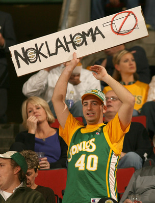 SEATTLE - NOVEMBER 01:  A fan of the Seattle SuperSonics holds a sign prior to the game against the Phoenix Suns on November 1, 2007 at Key Arena in Seattle, Washington. The Suns defeated the Sonics 106-99.  NOTE TO USER: User expressly acknowledges and a