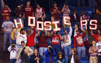 23 Mar 2002:  Fans of the Indiana Hoosiers make themselves know as they celebrate the Hoosiers defeat of the Kent State Golden Flashes 81-69 in the Championship of the South Region of the 2002 NCAA Men's Basketball Championship at the Rupp Arena in Lexing