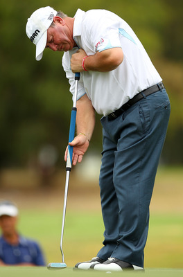 PERTH, AUSTRALIA - NOVEMBER 20:  Ian Woosnam of Wales putts on the 7th green during day two of the 2010 Australian Senior Open at Royal Perth Golf Club on November 20, 2010 in Perth, Australia.  (Photo by Paul Kane/Getty Images)