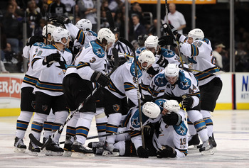LOS ANGELES, CA - APRIL 25:  The San Jose Sharks celebrate after the game winning goal by Joe Thornton #19 against the Los Angeles Kings in game six of the Western Conference Quarterfinals to advance to the next round of the 2011 NHL Stanley Cup Playoffs