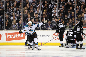 LOS ANGELES, CA - APRIL 25:  Joe Thornton #19 of the San Jose Sharks celebrates after scoring the game winning goal against the Los Angeles Kings in game six of the Western Conference Quarterfinals to advance to the next round of the 2011 NHL Stanley Cup