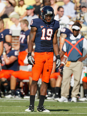 ATLANTA - OCTOBER 09:  Ras-I Dowling #19 of the Virginia Cavaliers against the Georgia Tech Yellow Jackets at Bobby Dodd Stadium on October 9, 2010 in Atlanta, Georgia.  (Photo by Kevin C. Cox/Getty Images)